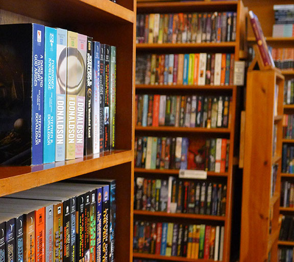 Close-up of bookshelves in the store